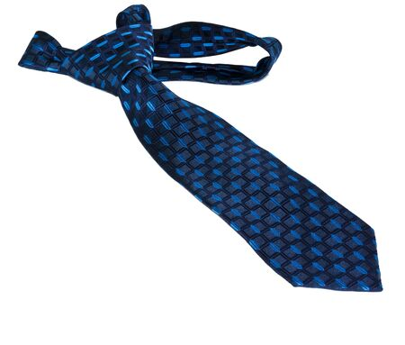 blue  striped necktie on a white background photo