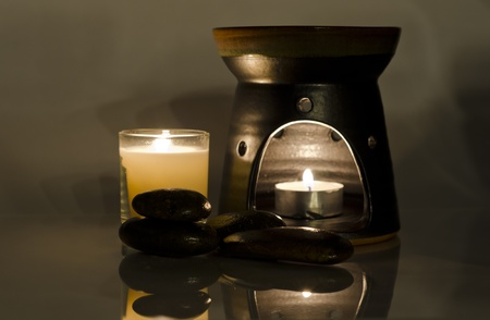 spa treatment with hot stone massage,concept for luxury lifestyle