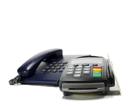 credit card reader machine and telephone,isolated on white Stock Photo - 15280986