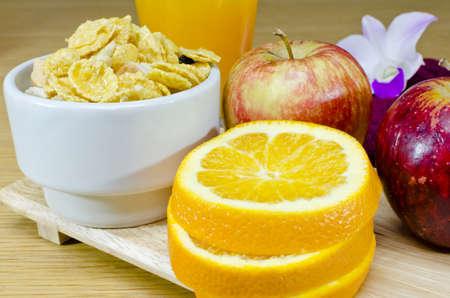 Healthy muesli breakfast with Apples and Orange Juice Stock Photo - 15641050