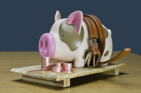 Piggy bank and Belt,Concepts for financial planning
