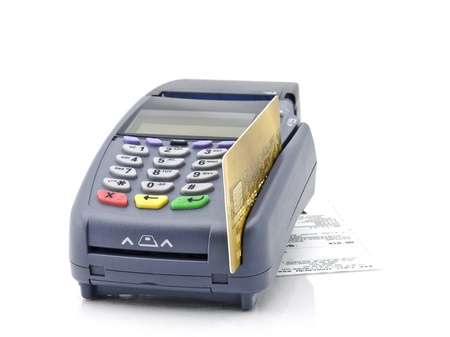 Credit card and card reader machine photo