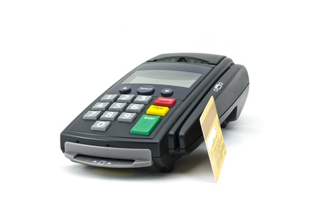 cash card: credit card and card reader machine,isolate on white background