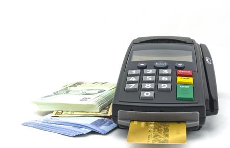 credit card and card reader machine,isolate on white background photo