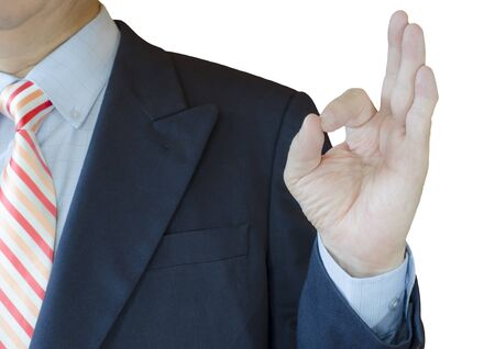 Business Man Hand and OK Sign, isolated on white background photo