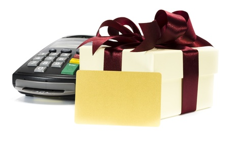 credit card reader machine,gift box and blank credit card ,isolated on white background