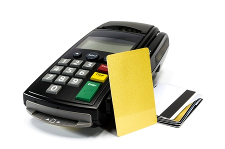 credit card reader machine and blank credit card ,isolated on white background
