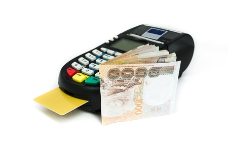 credit card and credit card reader machine with banknotes ,isolated on white background Stock Photo - 16928705