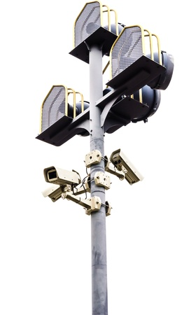 Group of Surveillance camera on a pole , isolated on white background Stock Photo - 17212011