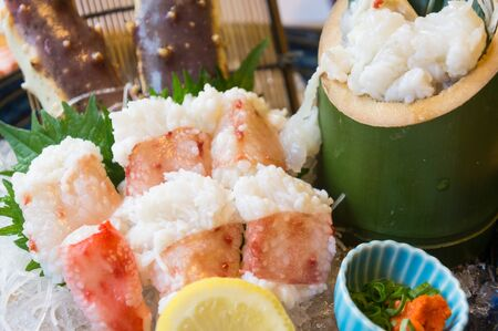 Fresh sashimi king crab ,traditional japanese foods
