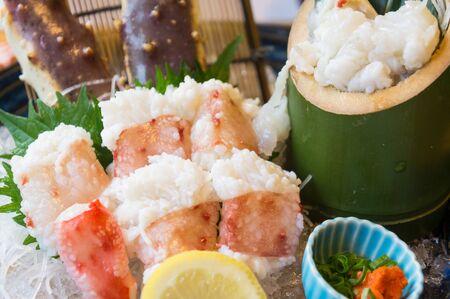 Fresh sashimi king crab ,traditional japanese foods