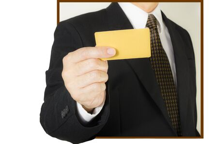 Businessman showing  blank credit card ,isolated on white background Stock Photo - 17831264