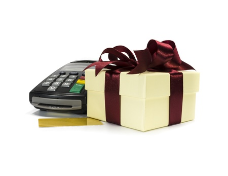 Credit card reader machine and gift box ,isolated on white background Stock Photo - 18342610