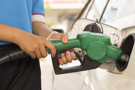 refuel: Car refuel in gas station Stock Photo