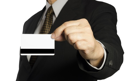 Business man showing a blank  card over white background