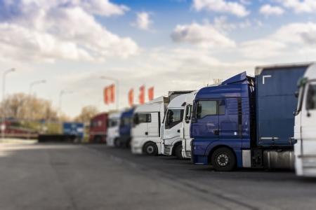 Truck parking station, selective focus