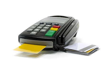 Credit card reader machine and blank credit card,isolated on white background