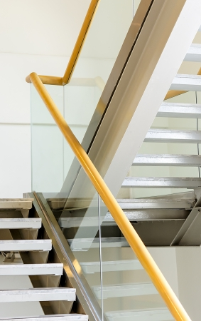 Modern metal and wooden staircase