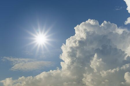 Sunlight and cloudy blue sky photo