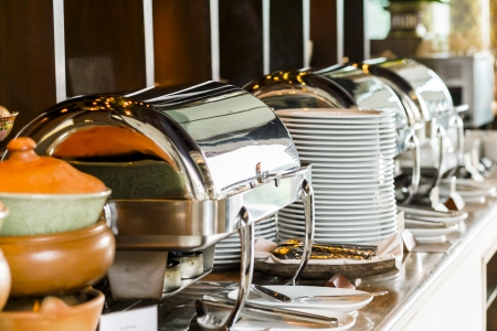 lunch tray: Buffet heated trays ready for service