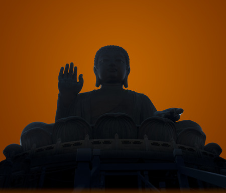Silhouette of the Tian Tan Buddha in Hong Kong , isolated background photo