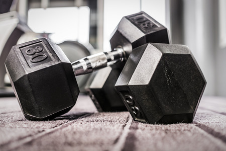 Gym weights in health club
