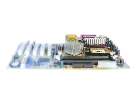 Computer mother board , using depth of field : isolated on white background photo