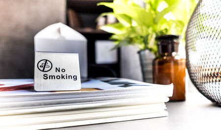 No smoking sign on the table in restaurant