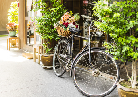 Old bicycle and flowers  decoration