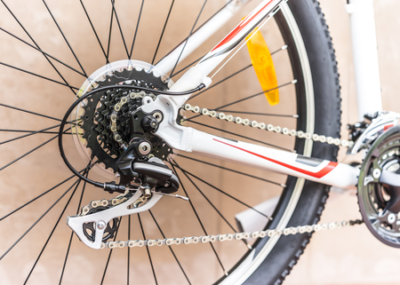 Selective focus of Bicycle gears and rear derailleur Stock Photo