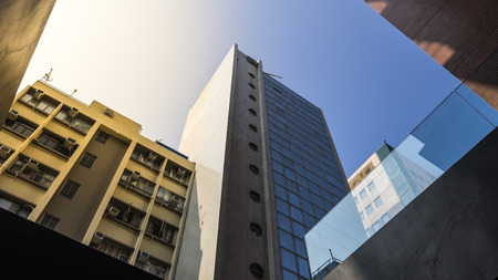 Bottom view of modern skyscrapers in business district photo