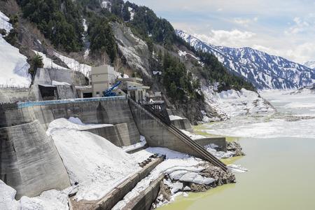 ice dam: View from Kurobe dam  between Snow wall at Tateyama Kurobe Alpine Route, Japan