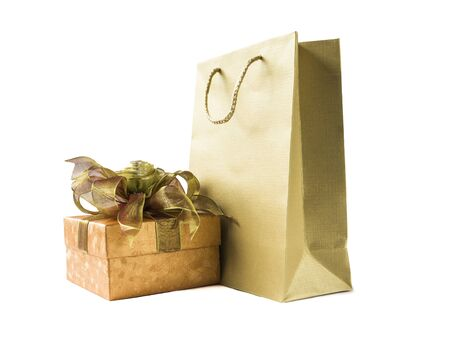 gift bow: Gift box and Paper bag , Isolated on white background Stock Photo
