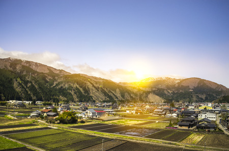 Beautiful sunrise on japanese countryside Stock Photo