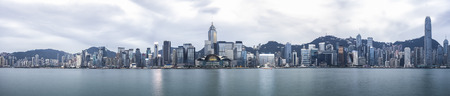 Panorama view of Hong Kong skyline in the morning over Victoria Harbour