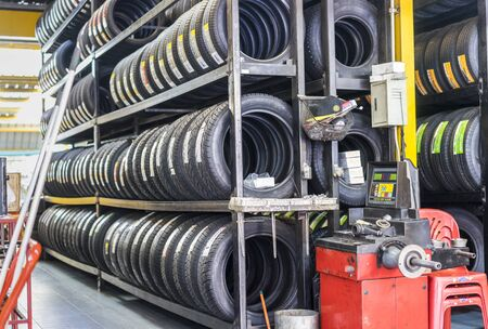 Raw of new tires for sale at a tire store