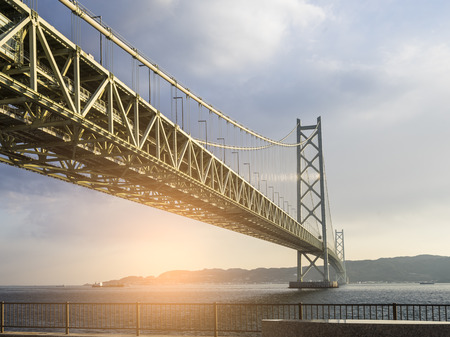 Akashi Kaikyo Bridge the world's longest suspension bridge, Kobe, Japan 스톡 콘텐츠