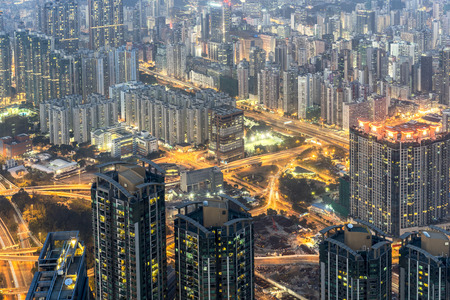 residential building: Hong Kong cityscape at night : Residential building