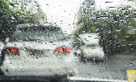 Driving in the rain on traffic jam