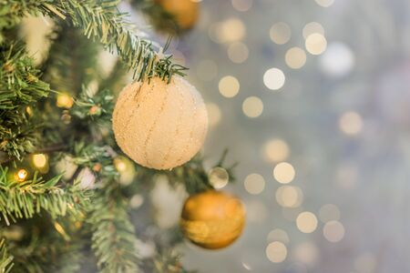 Close up of Christmas greeting decoration with blurred background Stock Photo
