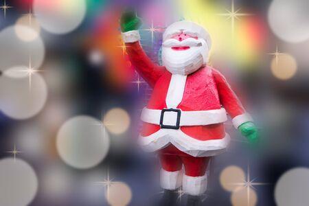 defocus: Happy Santa Claus on blurred background Stock Photo