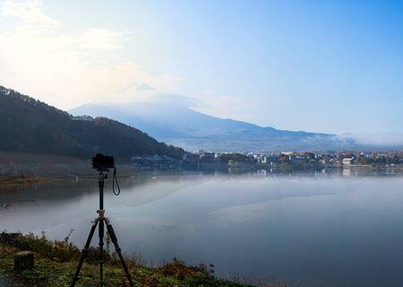 kawaguchi ko: Camera standing on tripod for shooting Mt.Fuji at Kawaguchi Ko Lake , Japan