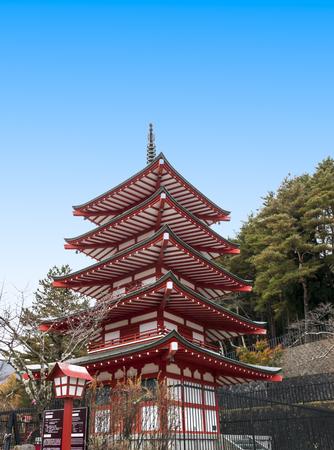 Five stories red pagoda, Chureito, is landmark near Mt.Fuji  in Kawaguchiko in Japan Editorial