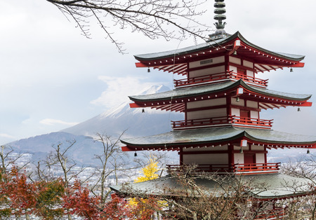 Chureito Pagoda with Mt.Fuji on Background Editorial