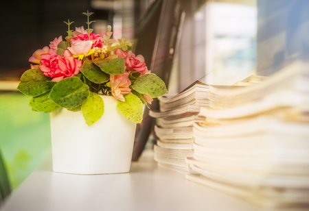 Ornamental flowering in vase on the desk