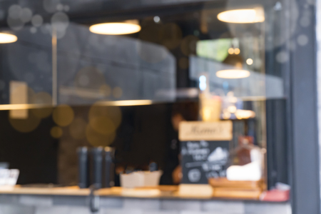 Coffee shop Blurred Background with Bokeh image Stock Photo