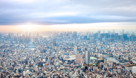 High angle view of Tokyo cityscape under moody sky