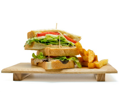 Homemade healthy club sandwich and french fried on white background