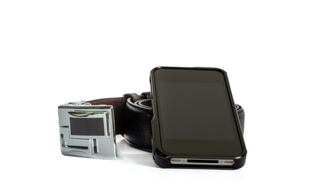 Belt and mobile phone on white background prepare for working 스톡 콘텐츠