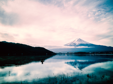 Mt.Fuji at the morning with beautiful sky and peaceful : View from Kawakuchi-Ko Lake Stock Photo